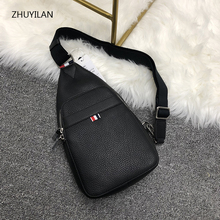 Customized high quality mens chest bag litchi pattern cow leather shoulder bags Cowhide waist pack