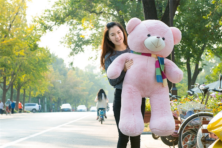 stuffed toy large 120cm pink teddy bear soft plush toy fat bear with scarf soft throw pillow,Christmas gift b1412 stuffed animal plush 120cm tie teddy bear plush toy pink teddy bear doll gift t6135