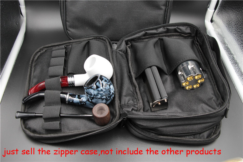 5pcs/lot Cigarette Tools Kit Bag metal tobacco pipe Zipper