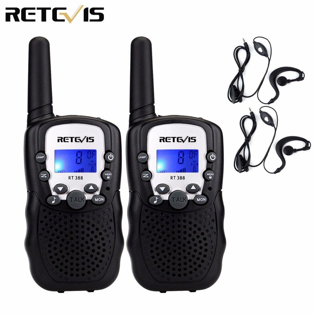 Mini Walkie Talkie 2pcs Kids Radio Retevis RT388 0.5W PMR446 FRS UHF Frequency Portable Radio + 2pcs Earpiece