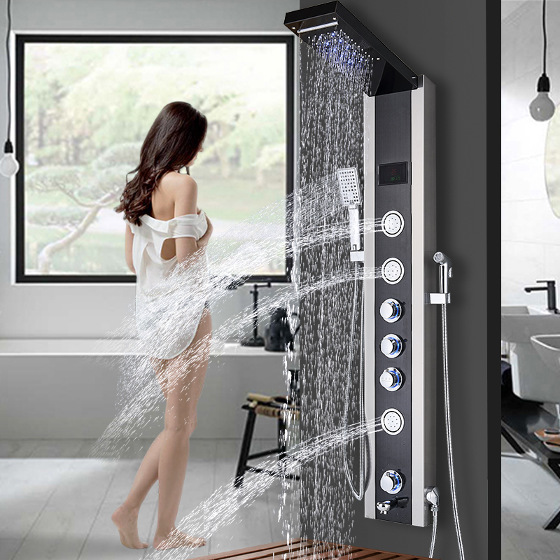 Bathroom Fixtures Newly Luxury Black Brushed Bathroom Shower Faucet Led Shower Panel Column Bathtub Mixer Tap With Hand Shower Temperature Screen Diversified In Packaging Back To Search Resultshome Improvement