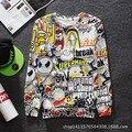 Estilo caliente Creativo 3D de Dibujos Animados de Impresión Camisetas de Los Hombres de Una sola Cuello Descanso Hip Hop Streetwear de Manga Larga Jersey Chaqueta de la BBC sudaderas con capucha