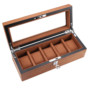 5 Grids Watch Box High Quality Wooden Rectangular Case Ladies Jewelry Brown