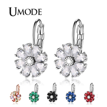 UMODE 2019 New Flower Colorful Zircon Drop Earring for Women Crystal White Gold Geometric Jewelry Boucle D'oreille Femme AUE0581 цена