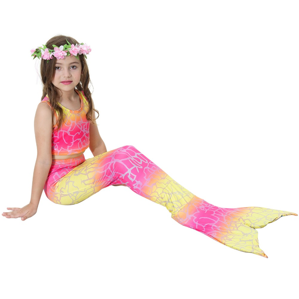2018 New Girls Swimming Suit Mermaid Tail Costume Kids Mermaid Tails For Children Swimmable Bikini Mermaid Kid Swimwear Dress in Girls Costumes from Novelty Special Use
