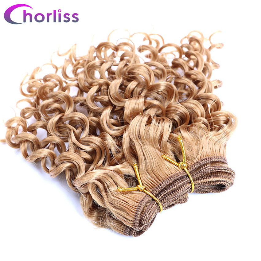 Chorliss Pure Dark Blonde Afro Kinky Curly Hair Weaving Synthetic 105g/lot 3pcs/lot
