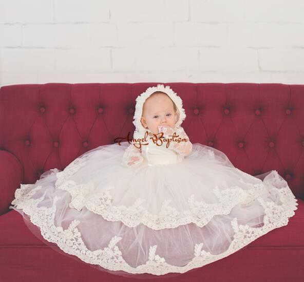 Us 9215 5 Offvintage Langen ärmeln Zwei Tiers Weißelfenbein Spitze Purfles Baby Infant Jungen Mädchen Formale Taufkleid Taufe Robe Kleid In