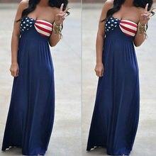 2016 Новинка пикантные Для женщин летние длинные макси Boho Вечеринка платье Пляжные наряды американский флаг сарафан оптовая продажа