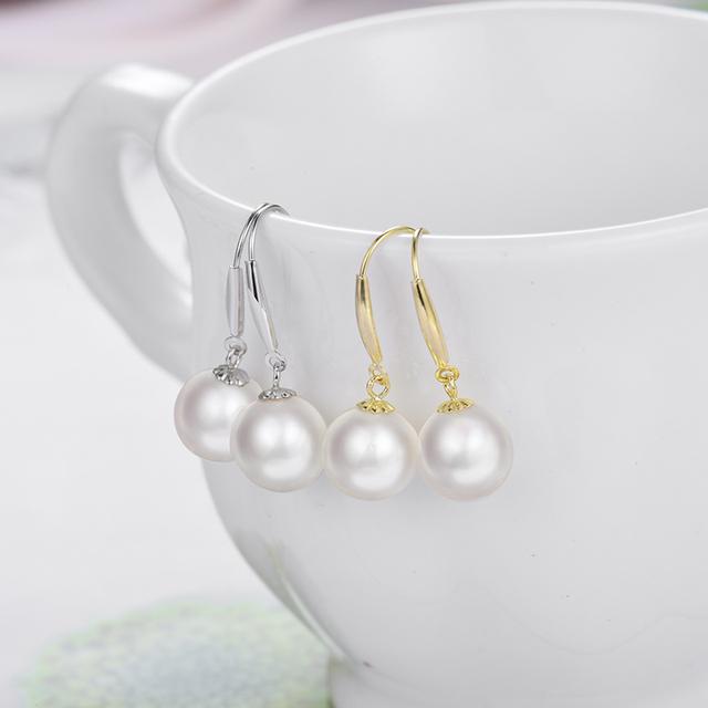 LANMI Real 18K Yellow Gold Akoya Pearl Wedding Earrings for Women Anniversary Gift Jewelry