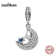 DALARAN DIY Moon Pendant Charms 925 Sterling Silver CZ Beads Fit Charms Silver 925 Original Women Jewelry Making