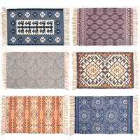 RAYUAN Nordic Style Woven Cotton Mat Carpet Bedside Tatami Floor Mat Dust proof Anti skid Doormats 60x90CM 60x130CM
