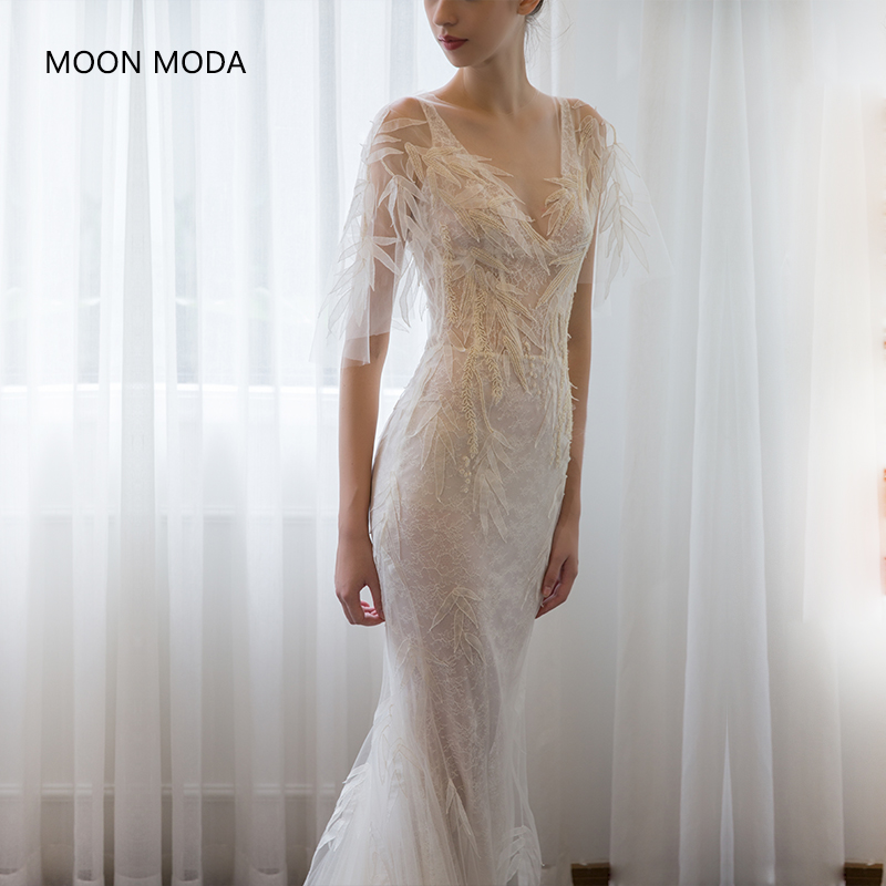 Deep V-neck Sexy Long Wedding Dress 2020 Half Sleeve Lace Bridal Gown Real Photo Weddingdress Vestido De Noiva Mermaid A-line