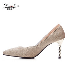 Daitifen 2018 New luxurious women Party wear shoes fashion Ruffles  decoration Bling high Spiral heel Big size ladies Stilettos 47a0a85bc10d