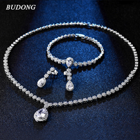 BUDONG Fashion Luxury Bridal Jewelry Sets Wedding Necklace Earrings Bracelet For Brides Party Costume Accessories Women