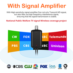 Image 2 - 150 Miles Indoor DTV Digital TV Antenna HDTV Antena HD Cable TV Antena with Signal Amplifier Booster DVB T/T2 UHF VHF Antennas
