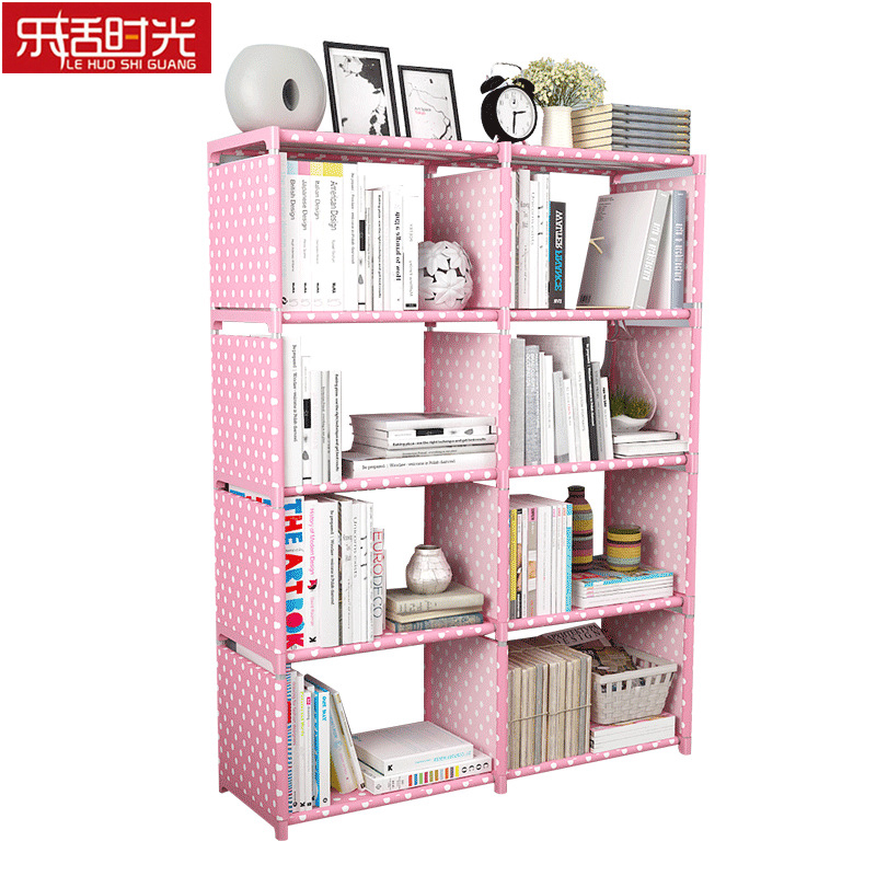 Double Row 10 Grid Simple Bookshelf Nonwoven Fabric Home Sundries Storage Cabinet Bookcase Kids Book Shelf for Home DecorationDouble Row 10 Grid Simple Bookshelf Nonwoven Fabric Home Sundries Storage Cabinet Bookcase Kids Book Shelf for Home Decoration