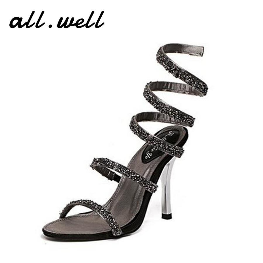Women Designer Sandals Crystal Sexy Gladiator Sandal Summer Female Open Toe Snake Woman Shoe Roman High Heel Shoes Size 35-39