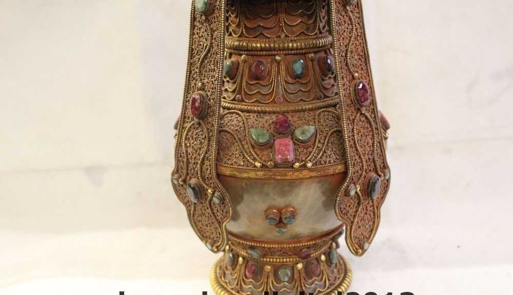 "13"" Tibet Buddhism Costful 100% crystal 24K Gold Gem turquoise Vase Pot Statue"