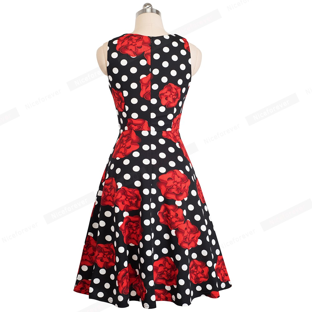 Nice-forever Vintage Elegant Embroidery Floral Lace Patchwork vestidos A-Line Pinup Business Women Party Flare Swing Dress A079 114