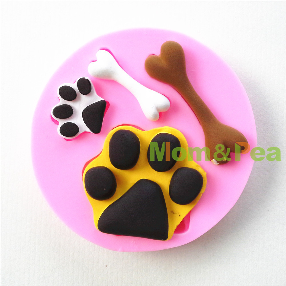 Mom&Pea <font><b>0682</b></font> Free Shipping Footprint & Bone Shaped Silicone Mold Cake Decoration Fondant Cake 3D Mold image