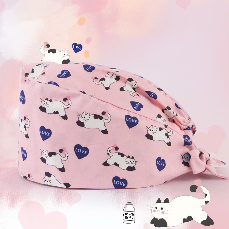 Cat Women's Surgical Scrub Hat Tie Back Medical Surgical Nurse Hat Thin Cotton Dental Clinic Hospital Operation Room Work Hats