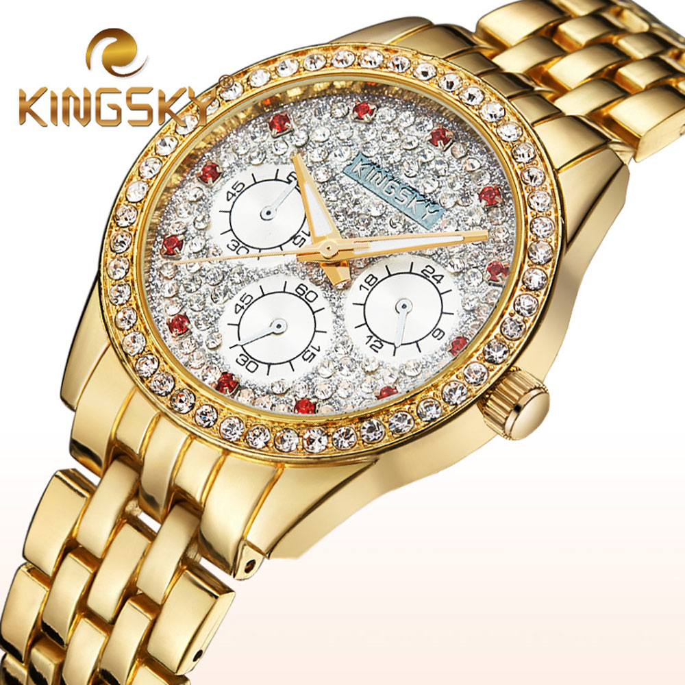 2017 Luxury Brand KINGSKY Women Bracelet Dress Watches Lady Fashion Rhinestone Wristwatch Steel Crystal Diamond Party Watch new arrival bs brand full diamond luxury bracelet watch women luxury round diamond steel watch lady rhinestone bangle bracelet