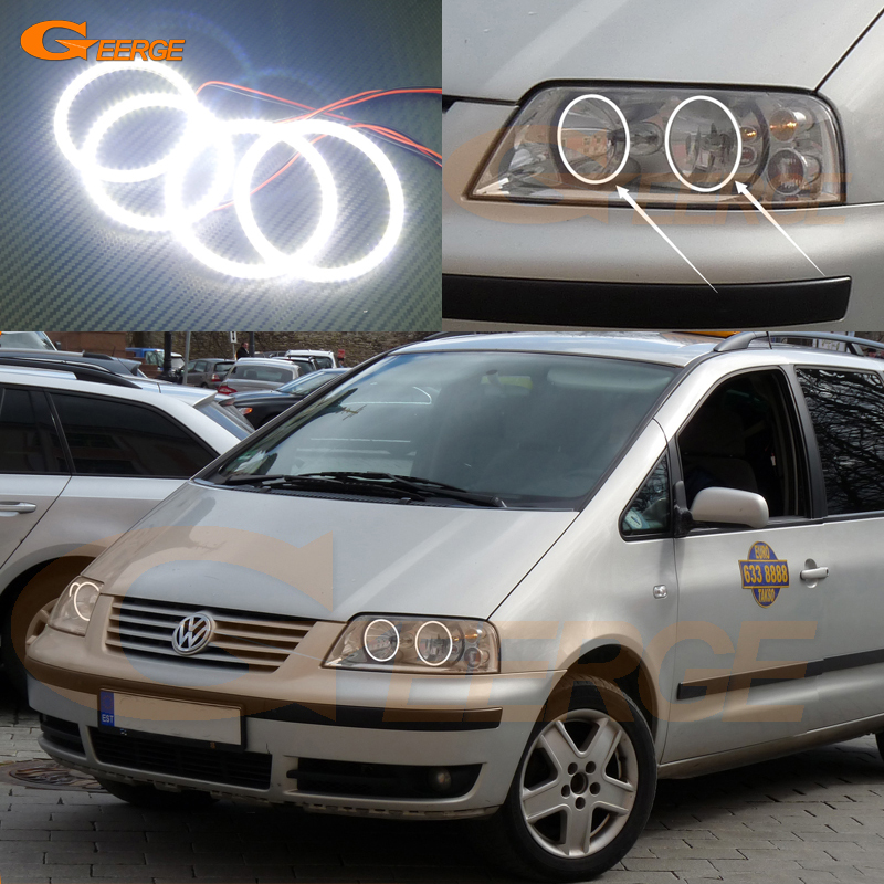 For Volkswagen VW SHARAN 2000-2010 Halogen headlight Excellent Ultra bright illumination smd led Angel Eyes Halo Ring kit for alfa romeo 147 2000 2001 2002 2003 2004 halogen headlight excellent ultra bright illumination ccfl angel eyes kit halo ring