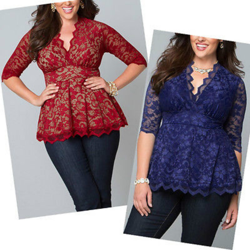 2016 Plus size Blouses V-neck Half Sleeve Shirts Women Summer Fashion Lace Blouse