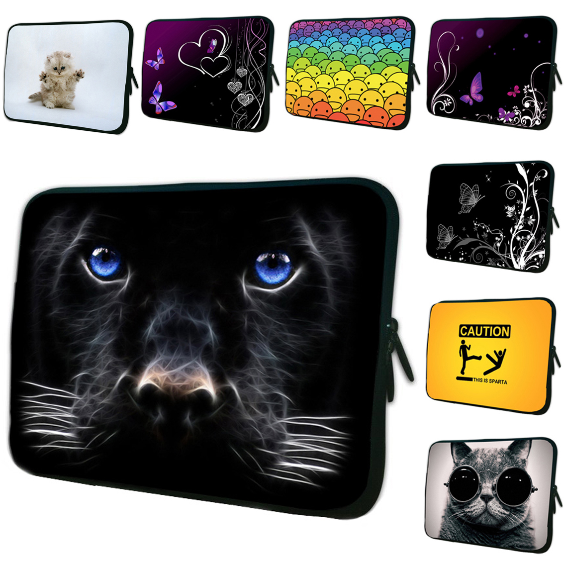 Boy Girls Cool Neoprene Laptop Sleeve Bags 7 inch 10 12 13 14 15 17 Notebook Computer PC Zipper Cover Cases Computer Accessories