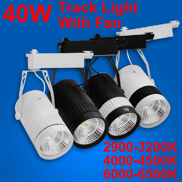 10pcs/lot 40W COB LED track light,AC 85-265V,led lighting track spot light,Clothing light store,Epistar chip 4200LM