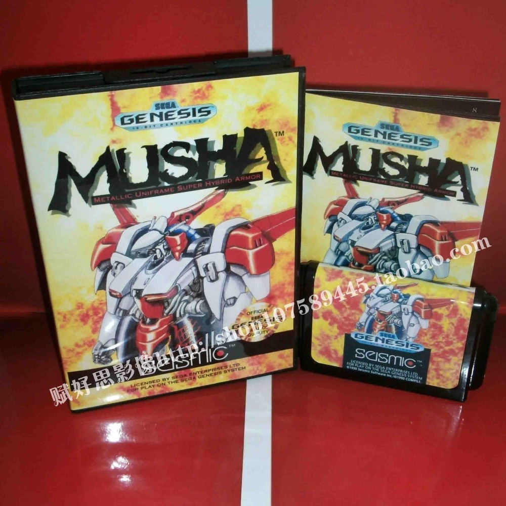 Sega MD game - MUSHA (U) with Box and Manual for 16 bit Sega MD game Cartridge Megadrive Genesis system