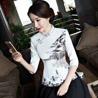 0082feee60 2019 Fashion Chinese Style Shirt Womens Mandarin Collar Tops Blouse Lady  Clothing Cheongsam Summer Short Qipao