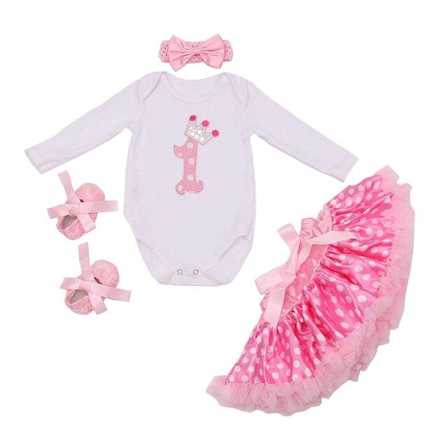 Новорожденные Девочки одежда Устанавливает День Рождения Боди Рюшами Юбки Оголовье Обувь 4 Шт. Детские Набор Vestido Infantil