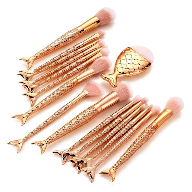 Juego de brochas de maquillaje de sirena Rosa 6-16 piezas Juego de brochas de maquillaje corrector de base maquillaje