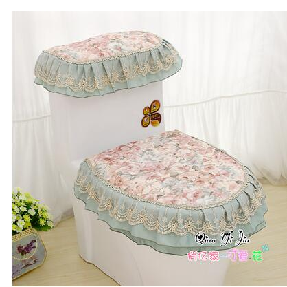 3Pcs/set Luxurious Toilet Seat Cover Pretty Toilet Seat Ring Durable Tank  Lid Cover Washable