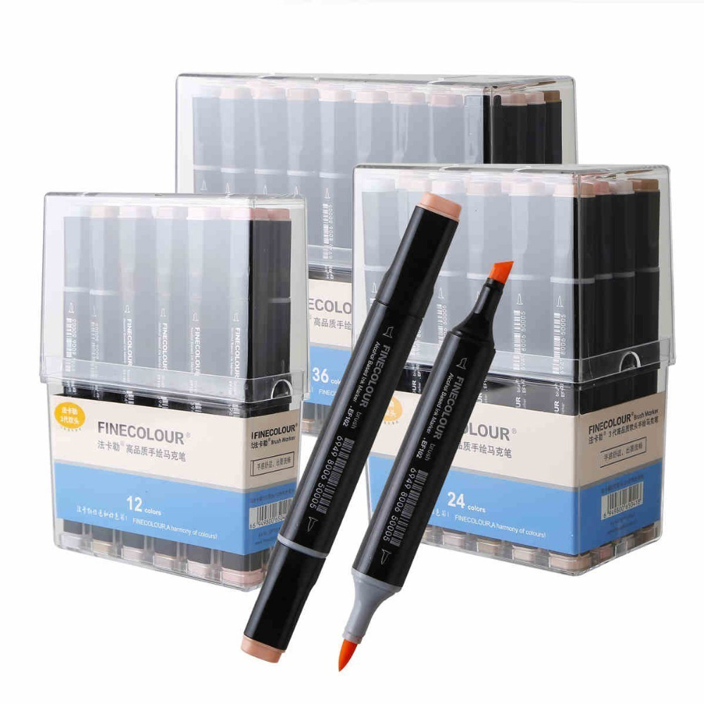 FINECOLOUR Sketch Skin Tones 12 24 36 Colors Artist Dual Head Markers Set for Brush Pen Painting Marker School Student Supplies new dual use makeup tattoo skin marker piercing marking pen for both refills