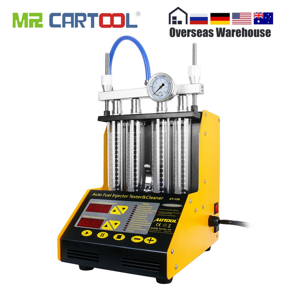 AUTOOL CT150 Car Fuel Injector Tester Injector Cleaner Test Cleaning Machine Ultrasonic Gasoline Auto Tool 110V 220V 4 Cylinders