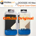 DOOGEE X5 MAX Pro Case 100% Original Official Flip Leather Case Back Cover+Original Tempered Glass for Doogee X5 Max Smartphone