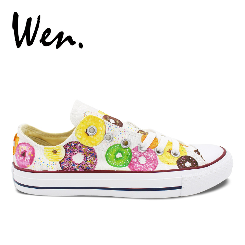 Donuts Low Top Canvas Shoes Birthday Gifts Hand Painted Art Womens Mens Shoes Custom Shoes Обувь