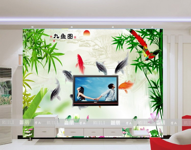 Custom 3d stereoscopic landscape living room TV backdrop bedroom wallpaper murals photo wall paper Chinese style rich goldfish