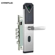все цены на CYPATLIC JCF3325B Sliver Color Stainless Steel Fingerprint Lock Porta Safe Electronic Lock With English Audio Guide онлайн