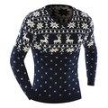 2015 Nuevos Suéteres de La Llegada Elegante Deer Animal Print Suéter Hombres Suéteres Hombres Suéter de Punto de Manga Larga Pullover 5 Colores