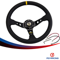 "PQY RACING- 14""350MM OMP Steering Wheel PVC Leather Steering Wheel 14Inch OMP Steering Wheels Deep Corn Dish Wholesale PQY- SW22"