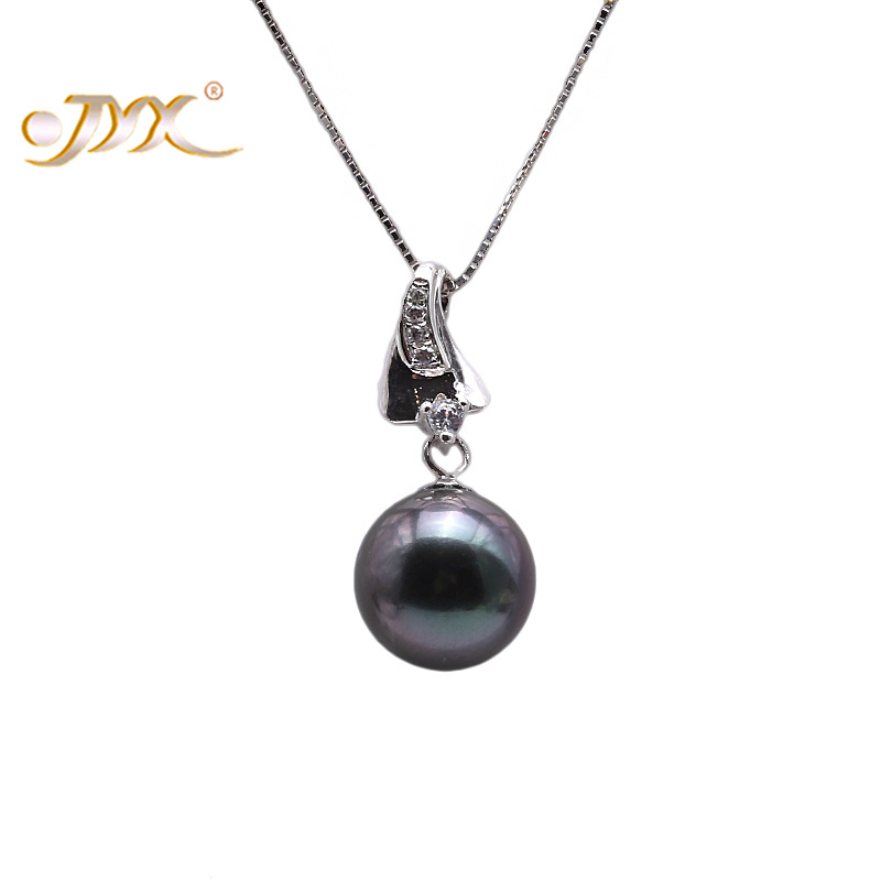 JYX Fashion 9.5mm Black Tahitian Pearl South Sea Cultured Pendant in 925 Sterling Silver 18 inches jyx pearl silver 925 jewelry genuine 12 5mm oval golden south sea cultured pearl 925 pendant necklace in sterling silver 18