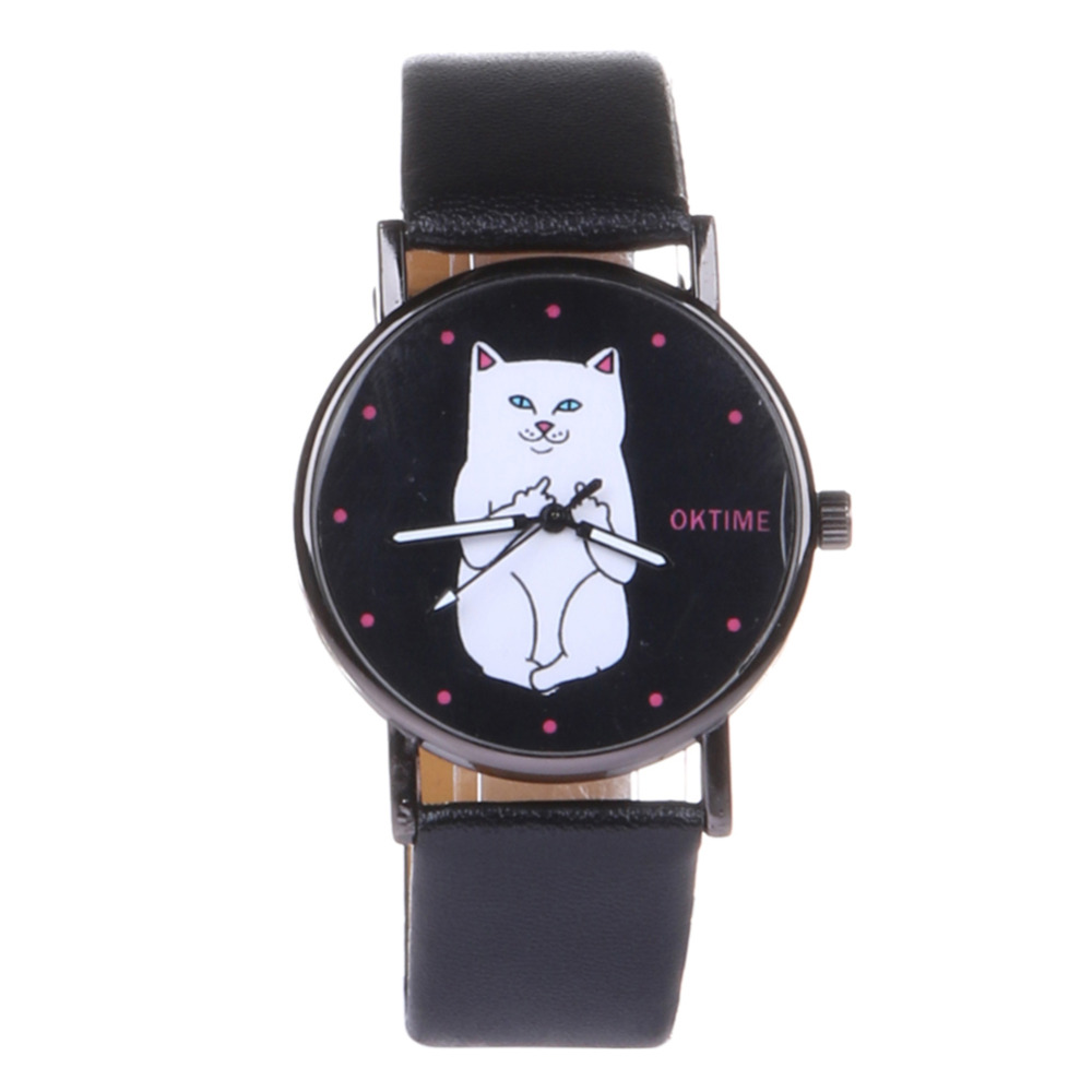 Fashion Cat Watch Leather Strap Ladies Watch Round Dial Women Watches Quartz Clock relogio feminino bayan saat reloj mujer women watches elegant fashion ladies watch wristwatch clock small round dial mini women watch relogio feminino saat reloj mujer