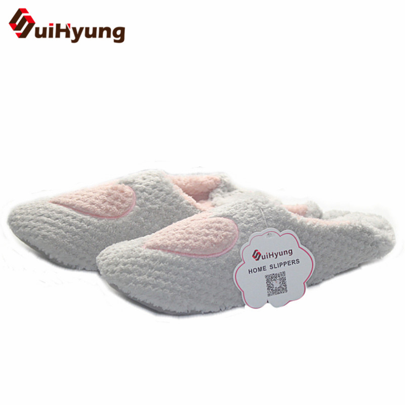 Suihyung New Women Winter Home Slippers Warm Indoor Shoes Girls Non-slip Floor Cotton Slippers Soft Bottom Bedroom Thermal Shoes