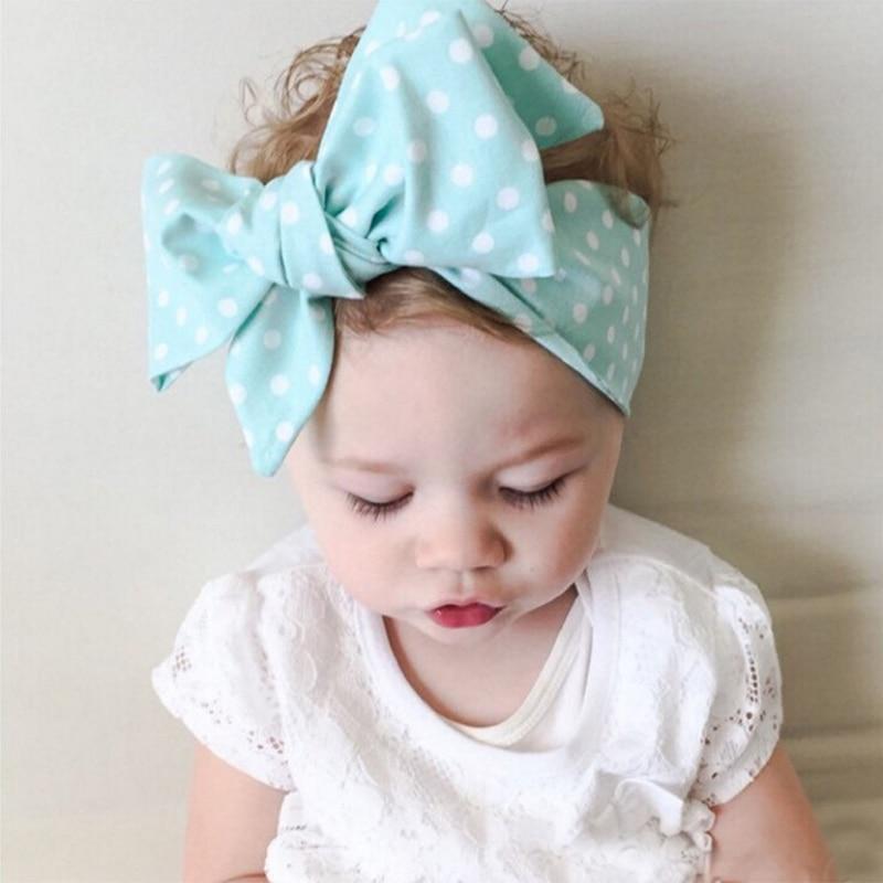 New Brand Baby Girl Headbands Dot Bow Children Bandanas Head Bands Newborn Turban Hair Headwear Accessories Baby Headband