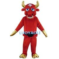 Полярная Звезда bull костюмы с Золотистые туфли Прихватки для мангала и Рог/новейшие красные крупного рогатого скота Талисман костюмы