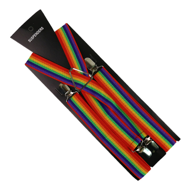 Fashion 2.5cm/1inch Wide Rainbow Printing Suspender 4 Clip X-Back Clip-on  Elastic Braces Suspenders For Men Women Suspenders