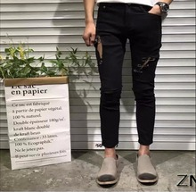 28-33 2017 summer new nightclub hairstylist men's personality Slim cotton jeans hole trousers tide pencil pants singer costumes